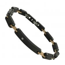 Black and Rose Gold Stainless Steel Bracelet with CZ Accented Plate