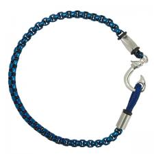 Stainless Steel Blue Rolo Chain Bracelet with Hook Closure