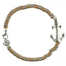 Stainless Steel and Rose Gold Color Round Link Bracelet with Anchor Charm