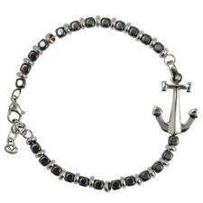 Stainless Steel and Charcoal Beads Bracelet with Anchor Charm