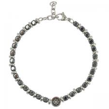 Stainless Steel Grey Beads Bracelet with Nautical Wheel Charm