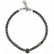 Stainless Steel Grey Beads Bracelet with Nautical Anchor Charm