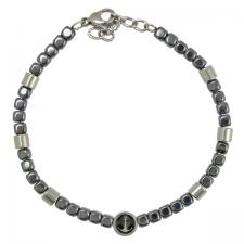 Stainless Steel Charcoal Beaded Bracelet with Nautical Anchor Charm