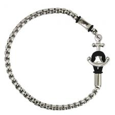 Stainless Steel Rolo Chain Bracelet with Anchor Clasp