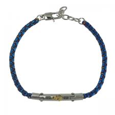 Stainless Steel Blue Rolo Link Bracelet with Steel Bar and Gold PVD Anchor