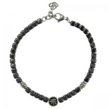 Stainless Steel And Grey Beads Bracelet with Nautical Compass Charm