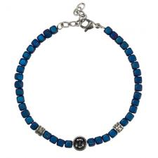 Stainless Steel Blue Matte Beads Bracelet with Anchor