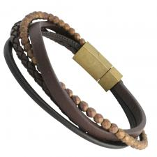 Brown Leather Bracelet with Bronze Colored Beads and Gold PVD Stainless Steel Clasp