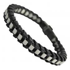 Black Braided Bracelet Around Stainless