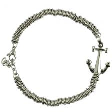 Stainless Steel Round Link Bracelet with Anchor Charm
