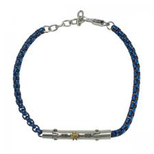 Stainless Steel Blue Rolo Link Bracelet with Steel Bar and Gold PVD Sailor Wheel