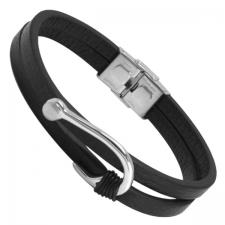 Double Black Leather Bracelet with Stainless Steel Fisher Hook Charm