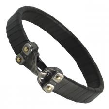 Black Leather Bracelet with Stainless Steel Hook Clasp
