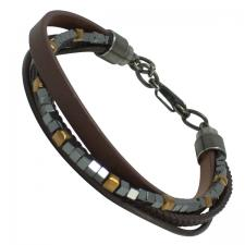 Men's Triple Brown Leather Bracelet with Stainless Steel Gun Color Box Beads