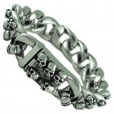 Stainless Steel Heavy Skull Link Bracelet