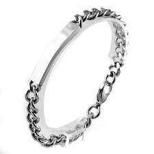 Stainless Steel Link Bracelet with Curved ID for Engraving (8.5 in)