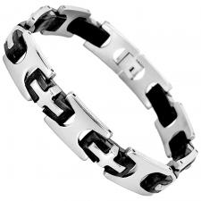 Stainless Steel And Black Rubber Link Bracelet With Steel Cross Design