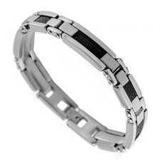 Stainless Steel Bracelet With Black Cable and Carbon Fiber