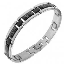 Stainless Steel Bracelet with Black PVD Greek Design in the middle of the Links (8.5 IN)