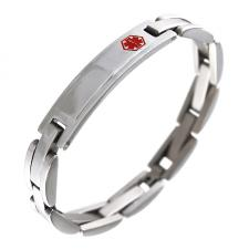Stainless Steel Link Bracelet with Medical ID Plate for Engraving (8.5 IN)