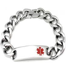Stainless Steel Bracelet with Twisted Links and Curved Medical ID Plate