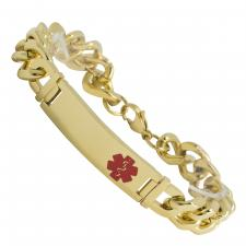 Gold PVD Stainless Steel Curb Bracelet with Engravable Medical ID Bar
