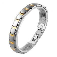 Beautiful Stainless Steel Link Magnetic Bracelet with Gold PVD