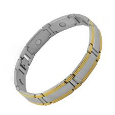 Beautiful Stainless Steel Link Magnetic Bracelet with Gold PVD (8.25 IN)