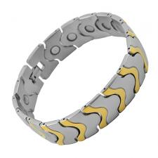 Beautiful Stainless Steel and Gold PVD Links Bracelet with Magnets