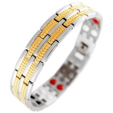 This stylish and therapeutic bracelet is made from the highest quality Stainless Steel, with gold PVD accents.  It is 8.5 inches long.