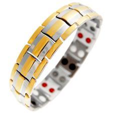 Two-Tone Men's Stainless Steel Magnetic Bracelet