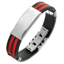 Rubber Bracelet in Red and Black colors with Plain Steel Plate