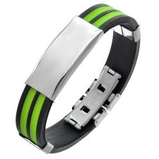 Rubber Bracelet in Green and Black colors with Plain Steel Plate