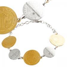 Stainless steel religious Medallion Bracelet