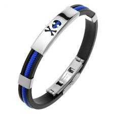 Blue and Black Rubber Bracelet with Skull and Crossed Bones cutout on Steel Plate
