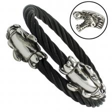 Black Stainless Steel Cable Bangle with Double Tiger Heads