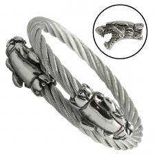 Stainless Steel Cable Bangle with Double Tiger Heads