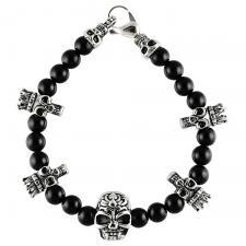 stainless steel and black bead bracelet