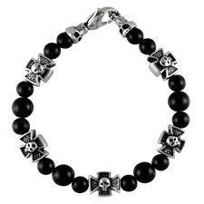stainless steel and black beaded bracelet