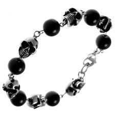 Stainless Steel Decorative Skull Bracelet w/ Alternating Black PVD Beads