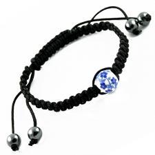 Tibetan Macrame Bracelet with Blue Flowers on White Bead