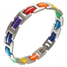 stainless steel gay pride bracelet