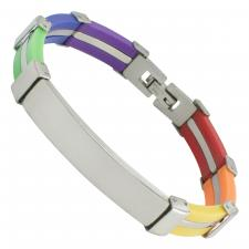 Stainless Steel and Rubber Rainbow bracelet with Engrave Plate