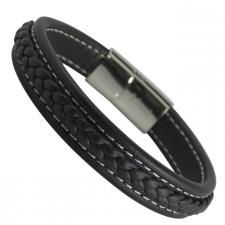 Brown Leather Braided Bracelet with Stainless Steel Magnetic Clasp