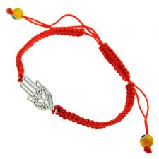 Red Macrame with Hamnsa and Evil Eye