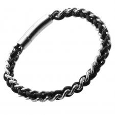 Bracelet in Braided Leather and Steel Pattern