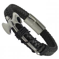 Black Leather Weaved Bracelet with Stainless Steel Axe Charm