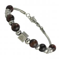Stainless Steel Beaded Bracelet with Nautical Charm  One Size Fits Most