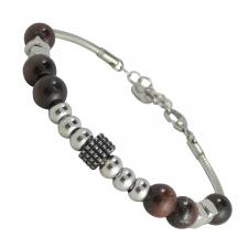 Stainless Steel Beaded Bracelet with Tiger Eye Beads