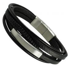 Black Leather Bracelet with Engrave-able Bar and Magnetic Clasp